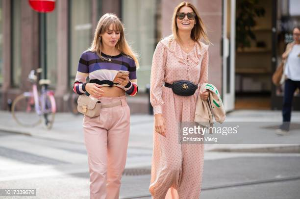 Guests wearing belt bag seen outside Pia Tjelta during Oslo Runway SS19 on August 15 2018 in Oslo Norway
