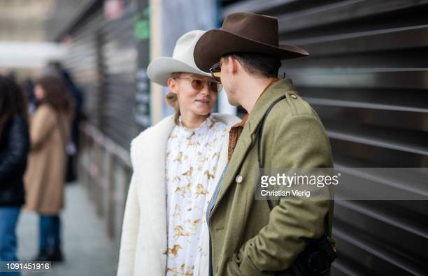 Guests wearing cowboy hat is seen during the 95th Pitti Uomo at Fortezza Da Basso on January 08 2019 in Florence Italy
