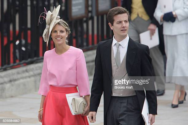 Guests wearing decorative hats depart Westminster Abbey after the wedding ceremony of Britain's Prince William and his wife Catherine Duchess of...