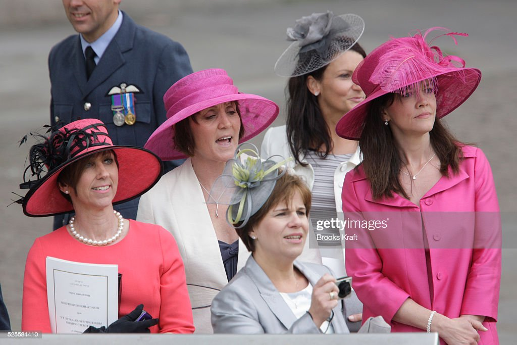 Guests Wearing Decorative Hats Departwestminster Abbey After The Wedding Ceremony Of Britain S Prince William And His