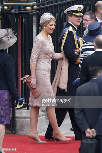 Guests wearing decorative hats departWestminster Abbey after the wedding ceremony of Britain's Prince William and his wife Catherine, Duchess of...
