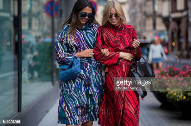 Guests wearing dress outside Rodebjer on August 30 2017 in Stockholm Sweden