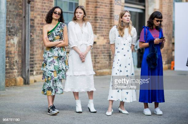 Guests wearing dresses during MercedesBenz Fashion Week Resort 19 Collections at Carriageworks on May 15 2018 in Sydney Australia