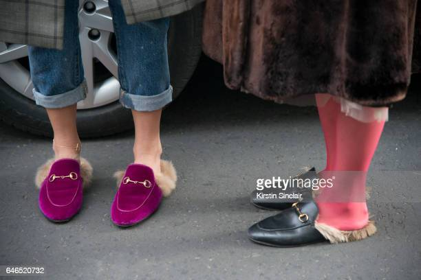 Guests wearing Gucci shoes on day 2 of London Womens Fashion Week Autumn/Winter 2017, on February 18, 2017 in London, England.