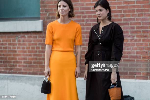 Guests wearing mini bag seen in the streets of Manhattan outside Diane von Furstenberg during New York Fashion Week on September 10 2017 in New York...