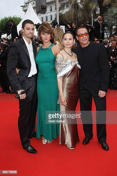 """Guests with Jean Claude Van Damme and Gladys Portugues attend the """"You Will Meet A Tall Dark Stranger"""" Premiere at the Palais des Festivals during..."""
