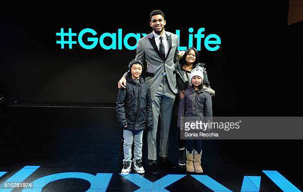 Guests with KarlAnthony Towns at the Samsung Experience during NBA AllStar 2016 on February 14 2016 in Toronto Canada