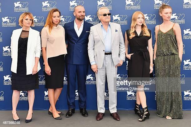 Guests Wojciech Mecwaldowski Jerzy Skolimowski Paulina Chapkov and Agata Buzek attend a photocall for '11 Minutes' during the 72nd Venice Film...