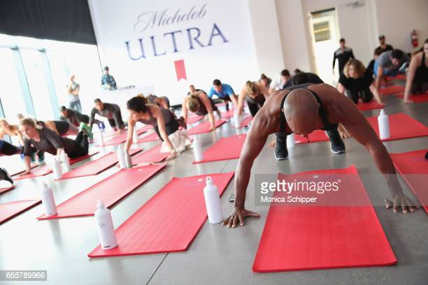 Guests work out with ULTRA 95 Michelob ULTRA's free dedicated skill on Amazon Alexa during The Big Spring Event with Michelob ULTRA at Spring Studios...