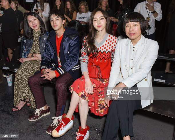GuestTimmy Xu Tiffany Tang Angelica Cheung attends Coach Spring 2018 fashion show during New York Fashion Week at Basketball City Pier 36 South...