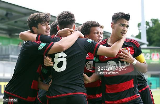 Gueven Yalcin Riccardo Grym ChineduAaron Ekene and Atakan Akkaynak of Leverkusen celebrate their team's second goal during the U17 German...