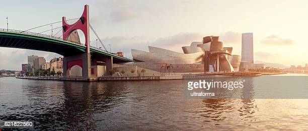 Guggenheim Museum Bilbao and Iberdrola Tower at sunset