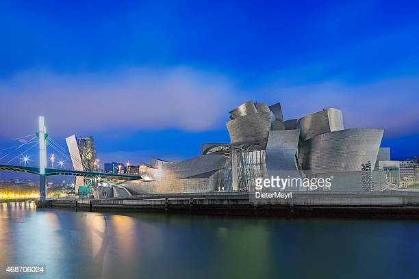 guggenheim museum bilbao at night - bilbao stockfoto's en -beelden