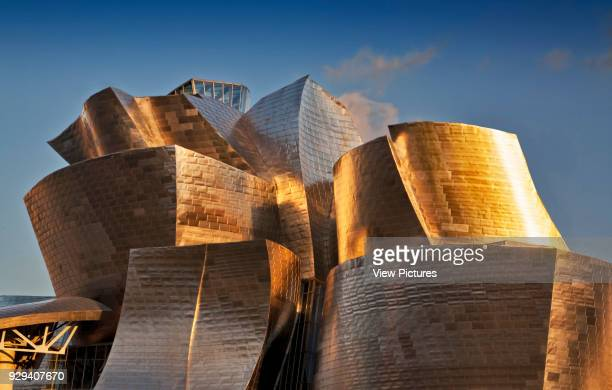 Guggenheim Museum Bilbao Bilbao Spain Architect Frank Gehry 1997 Cladding detail with late afternoon sun