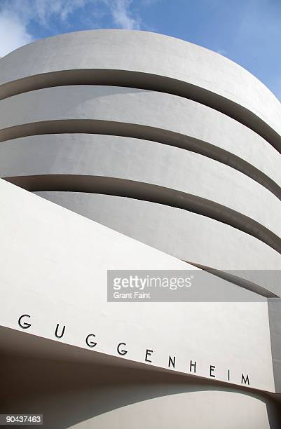 guggenheim museum, detail side view - solomon r. guggenheim museum stock pictures, royalty-free photos & images