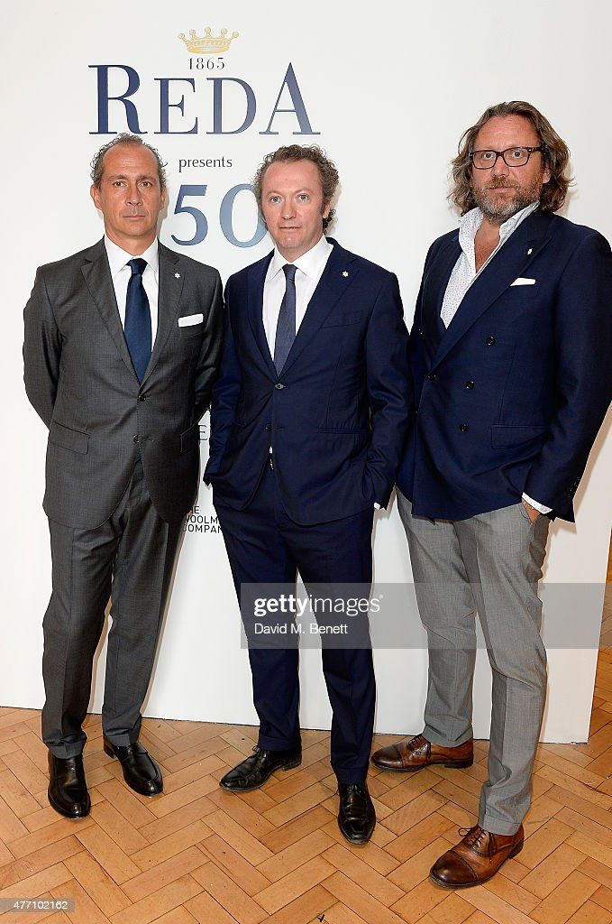 Guglielmo Botto Poala, Fabrizio Botto Poala and Francesco Botto Poala attend the brunch for REDA in collaboration with The Woolmark Company and Magnum celebrating 150 years, at One Marylebone on June 14, 2015 in London, England.
