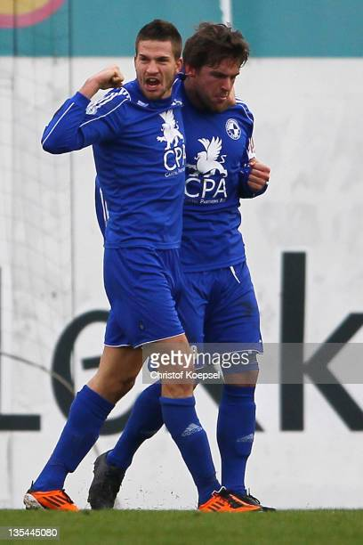 Guglielmo Maddente of Sportfreunde Lotte celebrates the first goal with Martin Hess of Sportfreunde Lotte during the Regionalliga West match between...