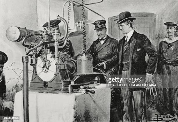 Guglielmo Marconi in the engine room of the Wireless telegraph station in Monte Mario Rome Italy drawing by Dante Paolocci from L'Illustrazione...