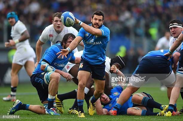 Guglielmo Palazzani of Italy passes the ball during the RBS Six Nations match between Italy and England at the Stadio Olimpico on February 14 2016 in...