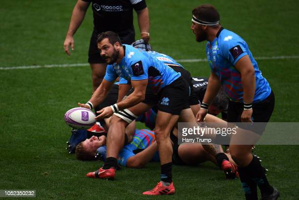 Guglielmo Palazzani of Zebre Rugby looks for a pass during the Challenge Cup match between Bristol Bears and Zebre Rugby at Ashton Gate on October 13...