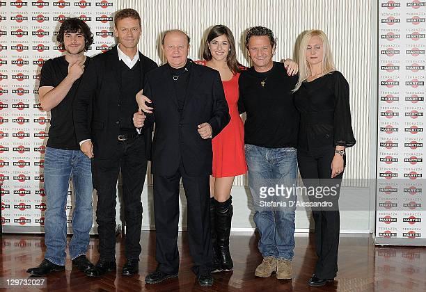 """Guglielmo Scilla, Rocco Siffredi, Massimo Boldi, Diana Del Bufalo, Enzo Salvi and Loredana De Nardis attend """"Matrimonio A Parigi"""" Photocall at..."""