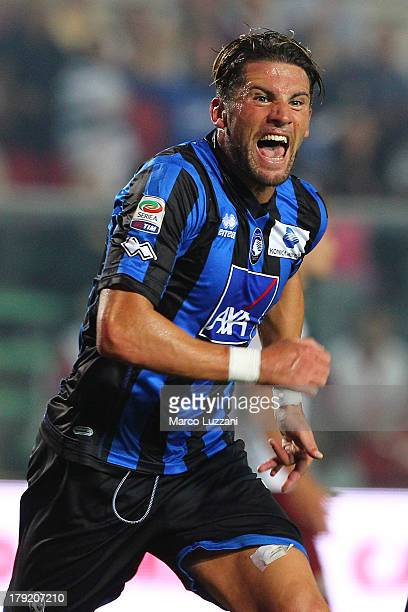 Guglielmo Stendardo of Atalanta BC celebrates after scoring the opening goal during the Serie A match between Atalanta BC and Torino FC at Stadio...