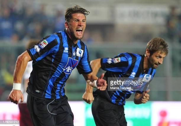 Guglielmo Stendardo of Atalanta BC celebrates after scoring the opening goal during the Serie A match between Atalanta BC and Torino FC at Stadio...