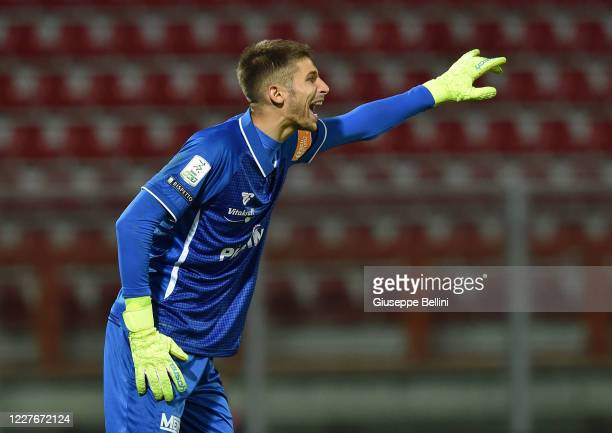 Guglielmo Vicario of AC Perugia in action during the Serie B match between AC Perugia and US Cremonese at Stadio Renato Curi on July 17, 2020 in...
