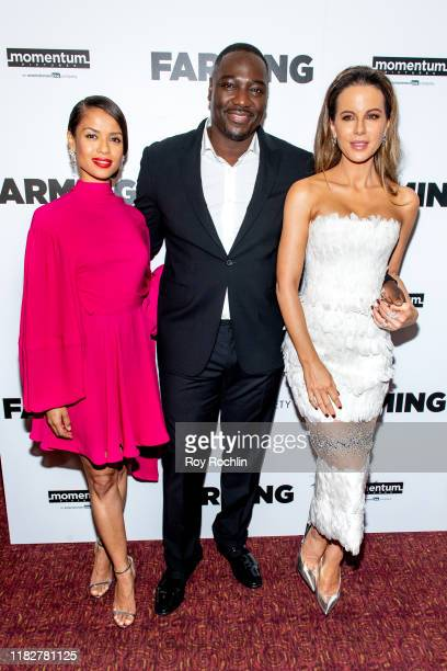 Gugu MbathaRaw Adewale AkinnuoyeAgbaje and Kate Beckinsale attend Farming New York Screening at Village East Cinema on October 22 2019 in New York...