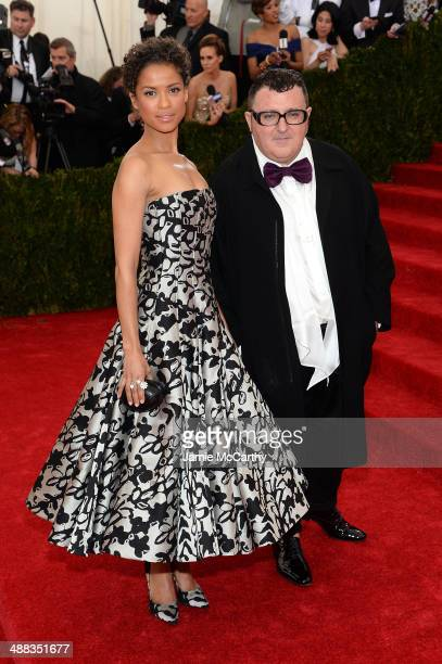 "Gugu Mbatha-Raw and Alber Elbaz attend the ""Charles James: Beyond Fashion"" Costume Institute Gala at the Metropolitan Museum of Art on May 5, 2014 in..."