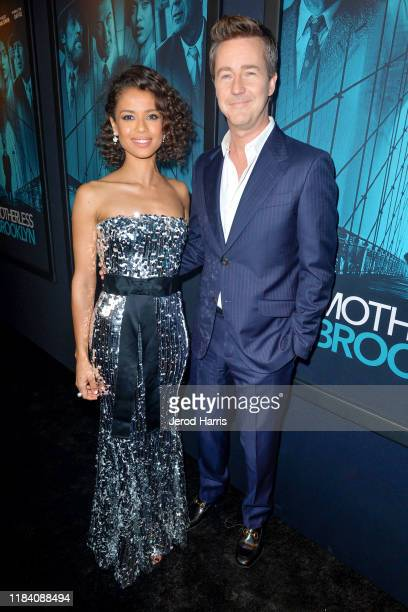 Gugu MbathaRaw and Edward Norton arrive at Premiere Of Warner Bros Pictures' 'Motherless Brooklyn' on October 28 2019 in Los Angeles California