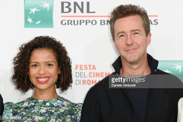 Gugu MbathaRaw and Edward Norton attend the photocall of the movie Motherless Brooklyn during the 14th Rome Film Festival on October 17 2019 in Rome...