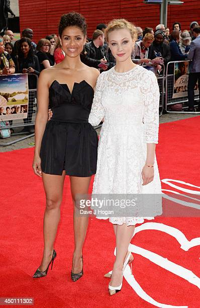 Gugu MbathaRaw and Sarah Gadon attend the UK premiere of 'Belle' at The BFI Southbank on June 5 2014 in London England