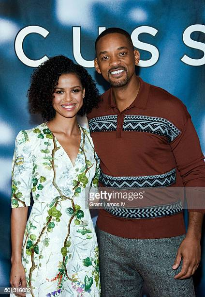 """Gugu Mbatha-Raw and Will Smith attend the """"Concussion"""" Cast Photo Call at Crosby Street Hotel on December 14, 2015 in New York City."""