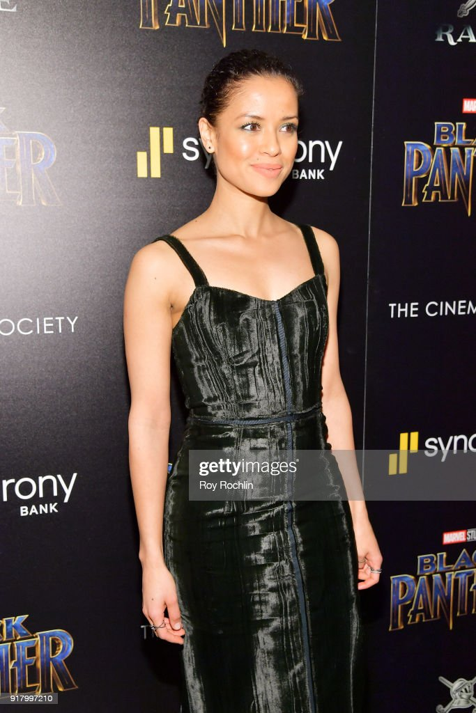 Gugu Mbatha-Raw attends the screening of Marvel Studios' 'Black Panther' hosted by The Cinema Society on February 13, 2018 in New York City.