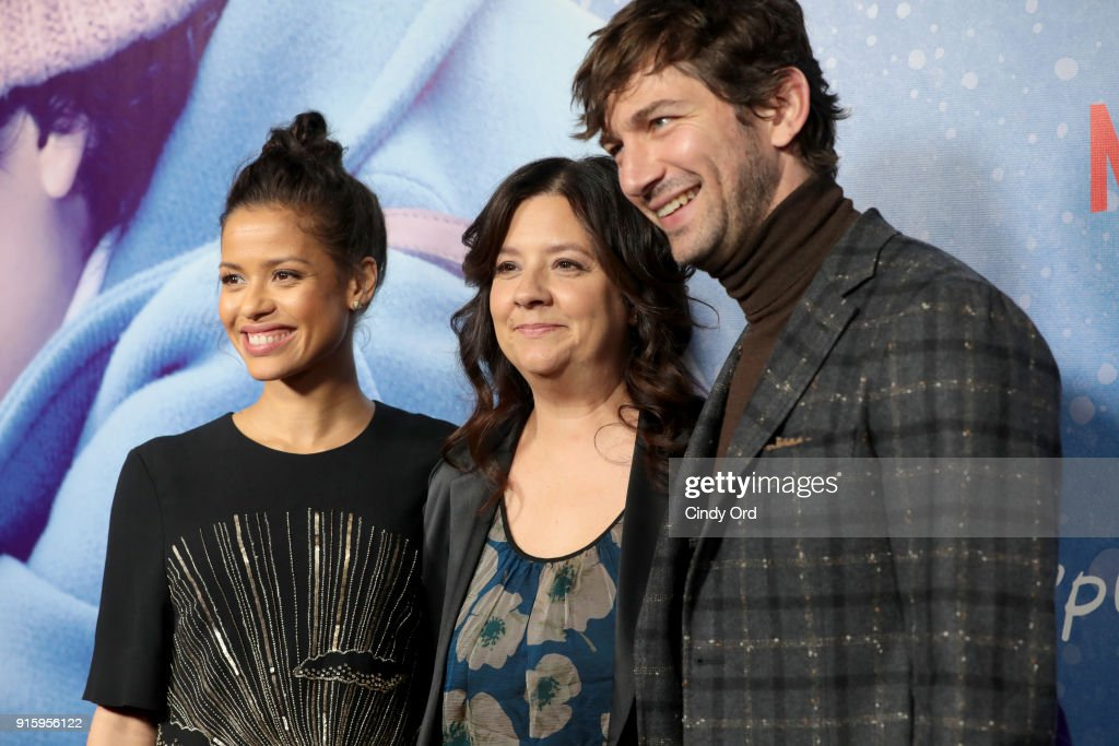 Gugu Mbatha-Raw, Director Stephanie Laing, and Michiel Huisman attend the Special Screening of the Netflix Film 'Irreplaceable You' at The Metrograph on February 8, 2018 in New York City.
