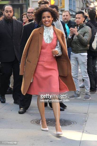 Gugu Mbatha-Raw is seen outside the 'Build' building on October 21, 2019 in New York City.