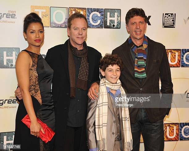 Gugu MbathaRaw Kiefer Sutherland David Mazouz and show creator Tim Kring attend the Touch premiere at the American Museum of Natural History on March...