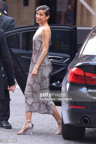 Gugu Mbatha-Raw seen arriving at the EE British Academy Film Awards 2021 at the Royal Albert Hall on April 11, 2021 in London, England.