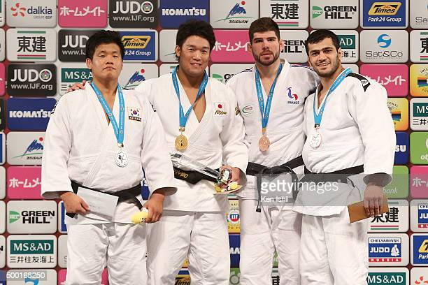 Guham Cho of Korea Ryunosuke Haga of Japan Cyrille Maret of France and Elmar Gasimov of Azerbaijan pose for photo on the podium after the Men's 100kg...