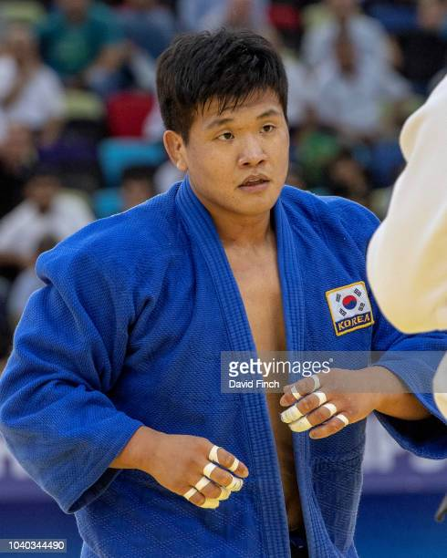 Guham Cho of South Korea defeated Varlam Liparteliani of Georgia in extra time by a wazari to win the u100kg final during day six of the 2018 Judo...