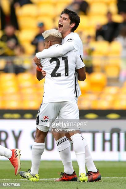 Gui Finkler of the Phoenix celebrates with Roy Krishna after scoring a goal during the round six ALeague match between the Wellington Phoenix and the...
