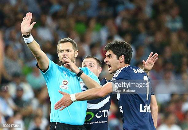 Gui Finkler of the Victory argues with referee Chris Beath after his free kick went over the goal line but the goal was not allowed during the round...