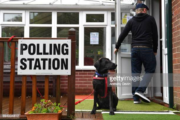 Guia a Labrador rescued from Ecuador lookson as a voter enters a polling station in Stalybridge on June 8 2017 in Greater Manchester United Kingdom...