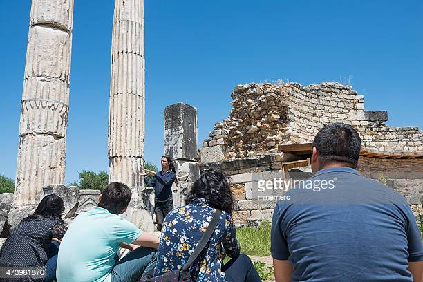 Guide and tourists in Aphrodisias