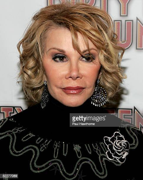 TV Guide Channel Correspondent Joan Rivers poses for photographers during the opening night of 'Dirty Rotten Scoundrels' after party at Copacabana on...