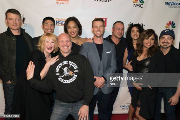 FIRE TV Guide Cover Party Pictured Phillip Winchester Brian Tee Robyn Coffin Randy Flagler DuShon Brown Jesse Spencer Taylor Kinney Miranda Rae Mayo...