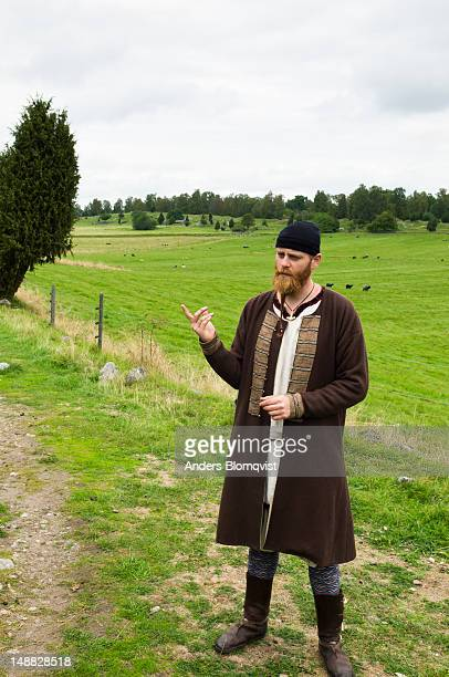 Guide dressed as Viking, Birka.