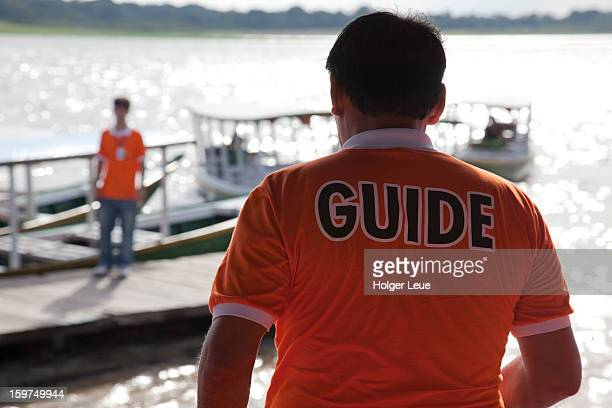 Guide during boat excursion on Amazon river