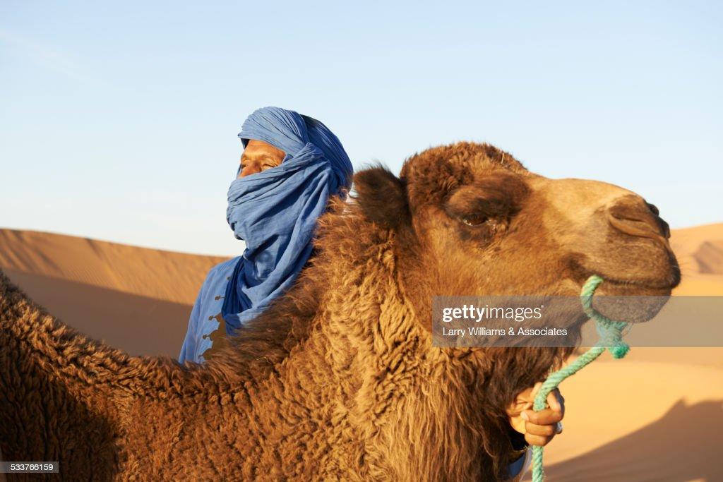 Guide holding camel on sand dunes in desert : Foto stock